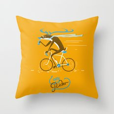 Easy Rider // (cycling hipster deer) Throw Pillow