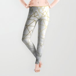 Gold Geometric Marble Deco Design Leggings