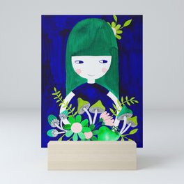 green hair girl in blue with floral illustration watercolor Mini Art Print