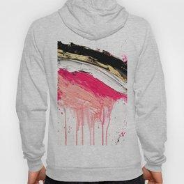 Modern abstract pink black gold brushstrokes splatters acrylic paint Hoody