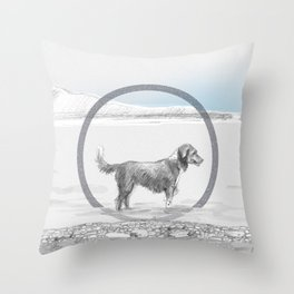dog wading in fjord Throw Pillow
