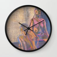 nudes Wall Clocks featuring Nudes in Color by Amanda Marie Studios