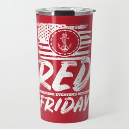 Remember Deployed Red Friday Navy Anchor Travel Mug