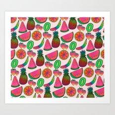 Rainbow fruits by Luna Portnoi Art Print