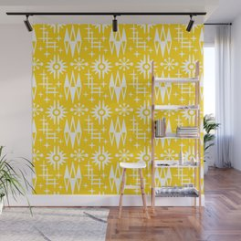 Mid Century Modern Atomic Space Age Pattern Yellow Wall Mural