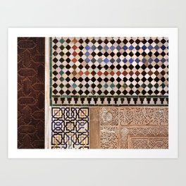 Details in The Alhambra Palace. Gold courtyard Art Print