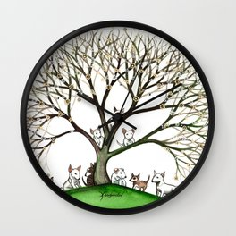 Bull Terriers Whimsical Dogs in Tree Wall Clock