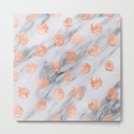 Roses Rose Gold Pink Marble Rose Pattern Metal Print