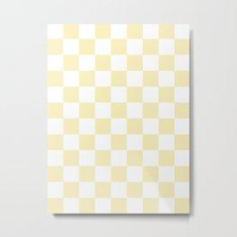 Checkered - White and Blond Yellow Metal Print