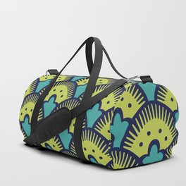 Fan Pattern Chartreuse Blue and Turquoise 991 Duffle Bag
