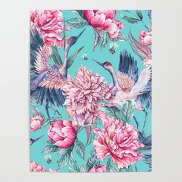 Teal peonies and birds Poster