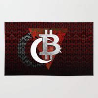 turkey Area & Throw Rugs featuring bitcoin turkey by seb mcnulty