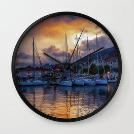 Sunset Boats Wall Clock