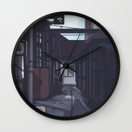 Aesthetic Village With Cat Wall Clock