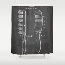 Hair Brush Patent - Salon Art - Black Chalkboard Shower Curtain