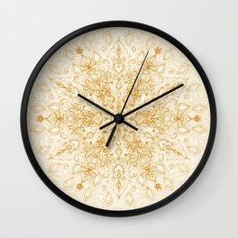 Sepia Snowflake Doodle Wall Clock