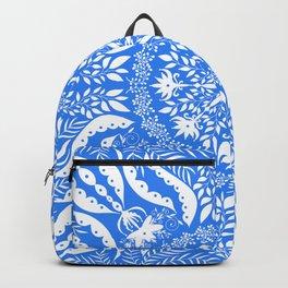 Bohemian Blue Botanical Folk Tile Backpack