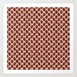 Doodle Coffee Bean Pattern on a Pink Background Art Print