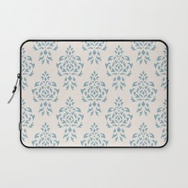 Crest Damask Repeat Pattern Blue on Cream Laptop Sleeve