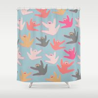sloths Shower Curtains featuring Cute sloths pattern by Darish