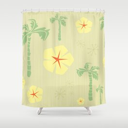 Midcentury Tiki Print Hawaii Retro Vintage Shower Curtain