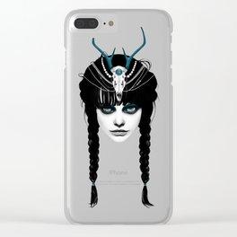Wakeful Warrior - In Blue Clear iPhone Case