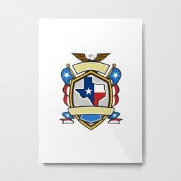 Texas State Map Flag Coat of Arms Retro Metal Print