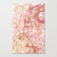 Outlined Scribbles - Pink and Gold Canvas Print