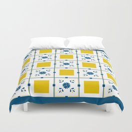 Talavera, blue and yellow flowers Duvet Cover
