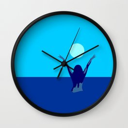 Blue sky and moon is calling me.. Wall Clock