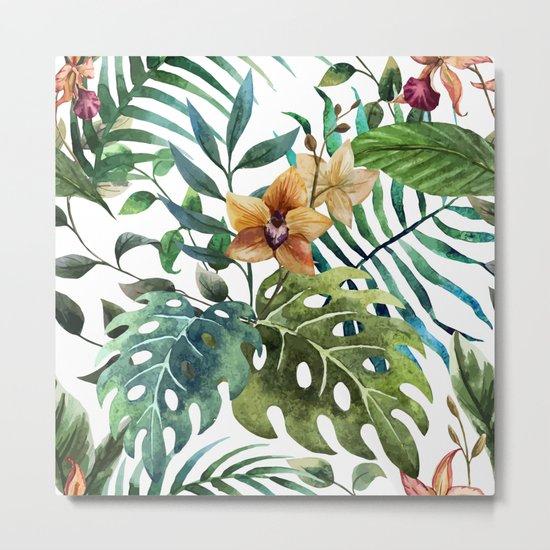 Tropical Floral Pattern 03 Metal Print