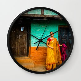Nepalese woman of Sindhupalchowk, Nepal Wall Clock