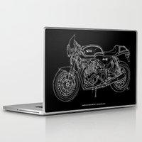 cafe racer Laptop & iPad Skins featuring NORTON COMMANDO 961 CAFE RACER. 2011 by Larsson Stevensem