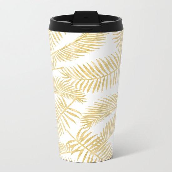 Palm Leaf Pattern Gold Metal Travel Mug