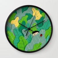 hunting Wall Clocks featuring Hunting by Mark Conlan
