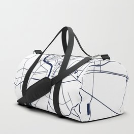 Bangkok Thailand Minimal Street Map - Navy Blue and White Duffle Bag
