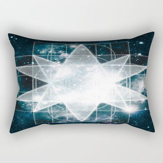 Sacred Geometry : Teal Galaxy Rectangular Pillow