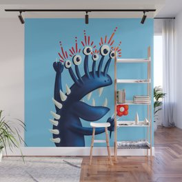 Funny Monster In Blue With Flower Wall Mural