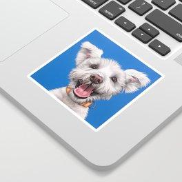 Joyful White Puppy Dog, Smiling Dog Portrait, Sweet Dog Wall Art Sticker