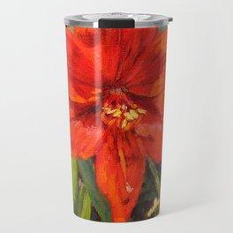Lone Beauty — Red Daylily Blossom by L Diane Johnson Travel Mug
