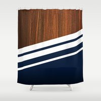 minimalist Shower Curtains featuring Wooden Navy by Nicklas Gustafsson