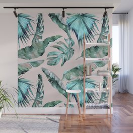 Tropical Palm Leaves Turquoise Green Coral Pink Wall Mural