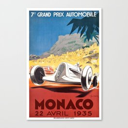 1935 Monaco Grand Prix Race Poster  Canvas Print