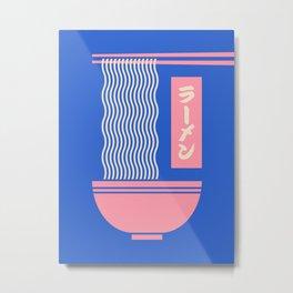 Ramen Japanese Food Noodle Bowl Chopsticks - Blue Metal Print