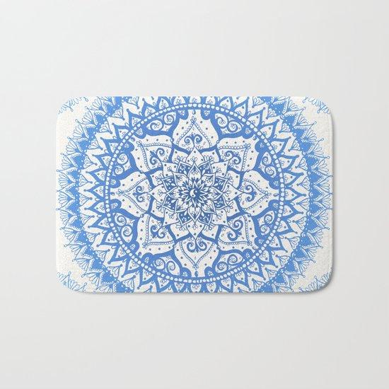Yin Yang Mandala in Soft Blues Bath Mat