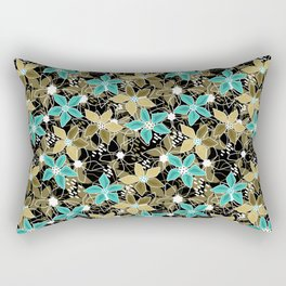 Turquoise and olive colors flowers Rectangular Pillow