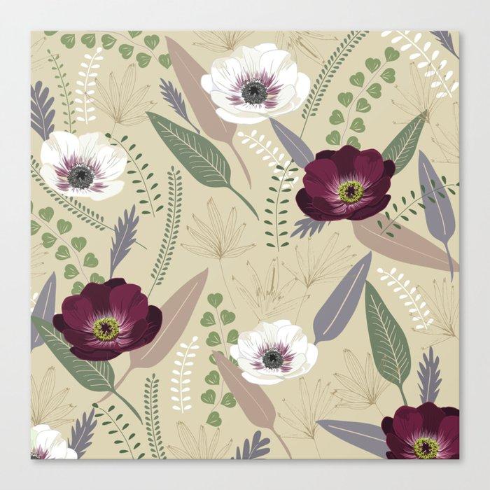 Anemones & leaves Canvas Print