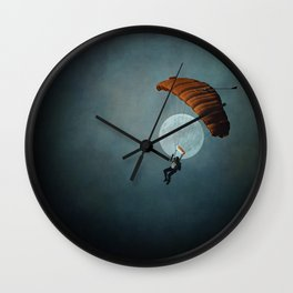 Skydiver's Moon Wall Clock