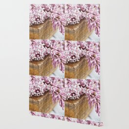 Close-up of lilac flowers in a wooden box. Wallpaper
