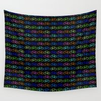 bicycles Wall Tapestries featuring Colorful Bicycles DARK by GoldTarget